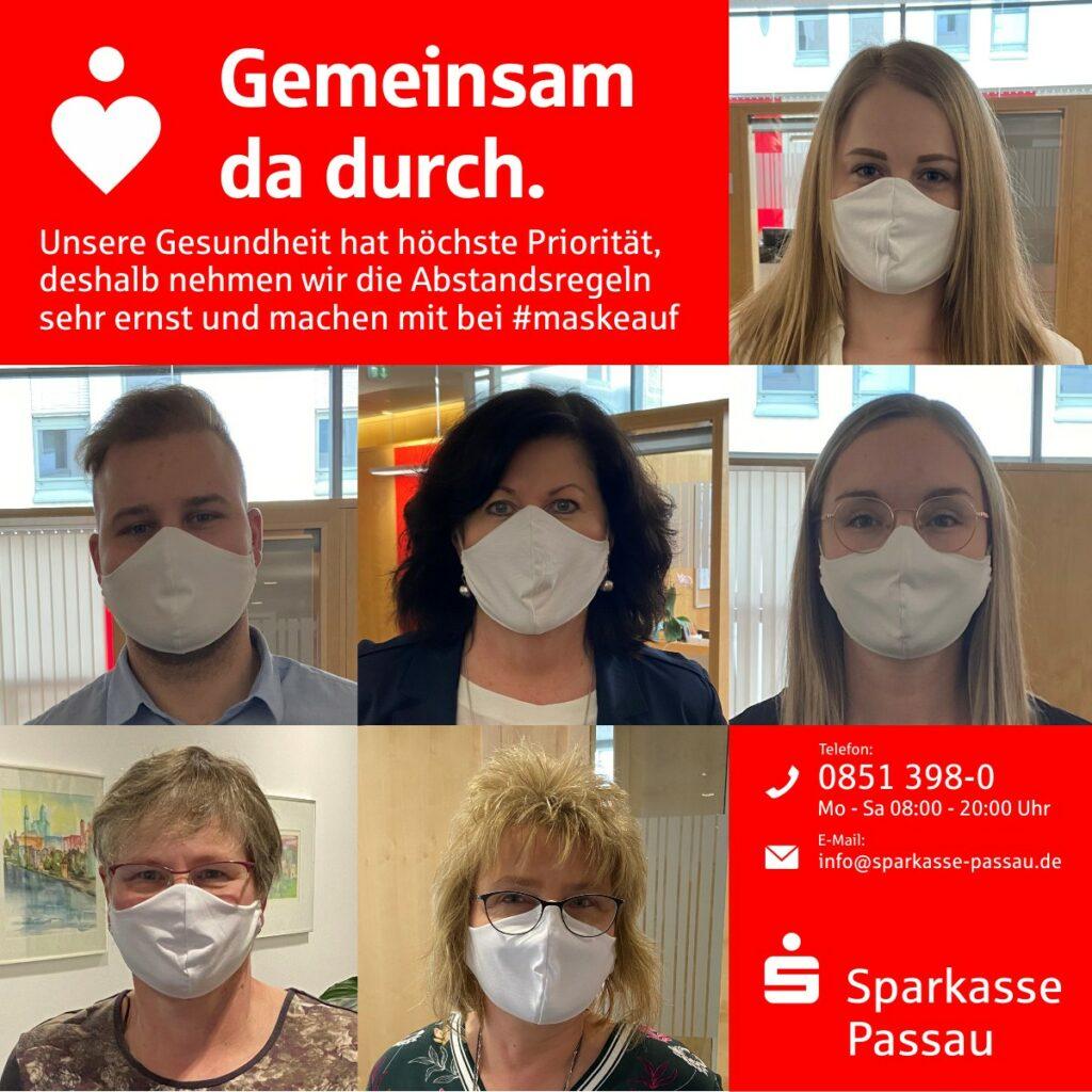 Sparkasse Passau - Mitarbeiter mit Mund-Nasen-Schutz