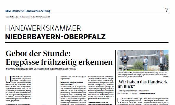 Sparkasse Passau - Artikel Deutsche Handwerks Zeitung
