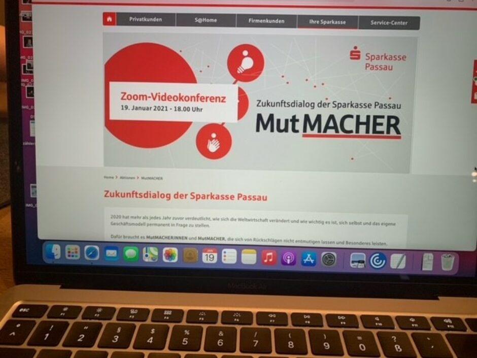 Sparkasse Passau veranstaltet virtuelles Netzwerktreffen von, mit und für MutMacher