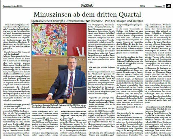 Sparkasse Passau: Jahres-Interview der PNP mit Christoph Helmschrott