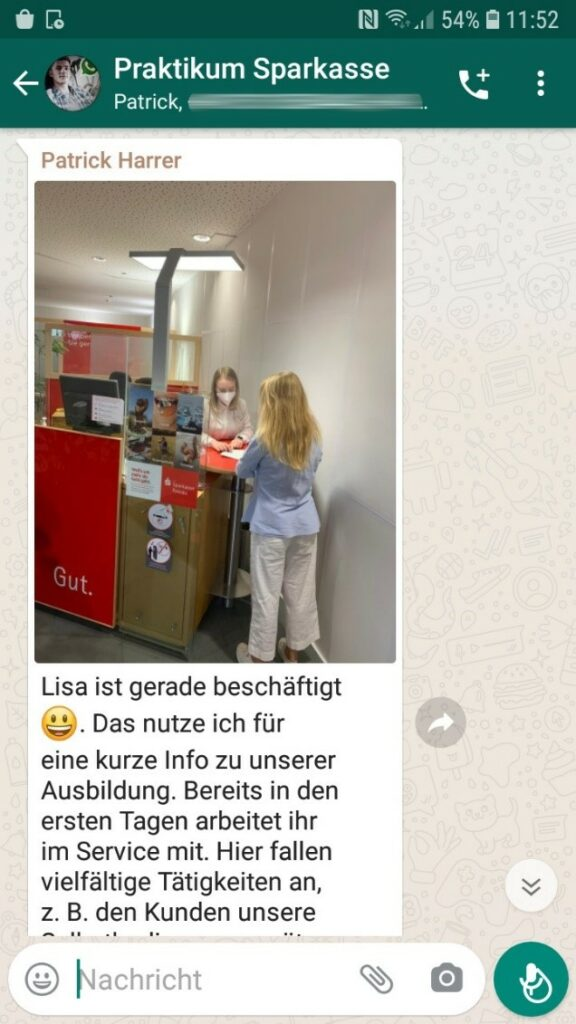 Sparkasse Passau veranstaltet WhatsApp-Praktikum